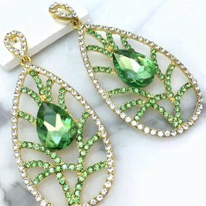 Prom Pageant Bridal Jewelry - Green Leaf Design Prom Pageant Chandelier Earrings